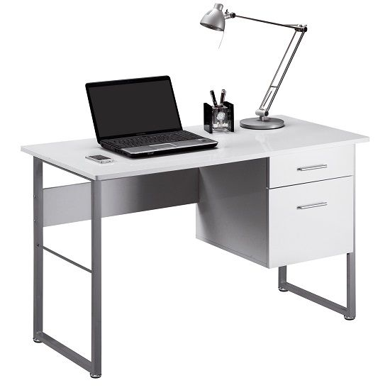 Kassel Computer Desk Rectangular In White Gloss And Grey Frame. Kassel Computer Desk Rectangular In White Gloss And Grey Frame
