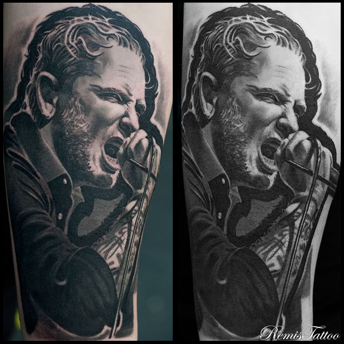Black and grey portrait tattoo of cory taylor from for Cory james tattoo