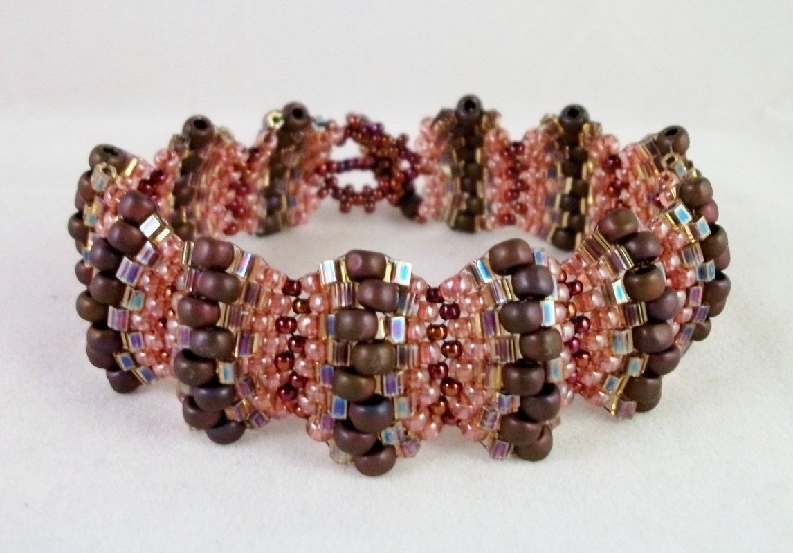 Bead Woven Bracelet with Burgundy Peach and by BusyBeeBeadwork, $40.00