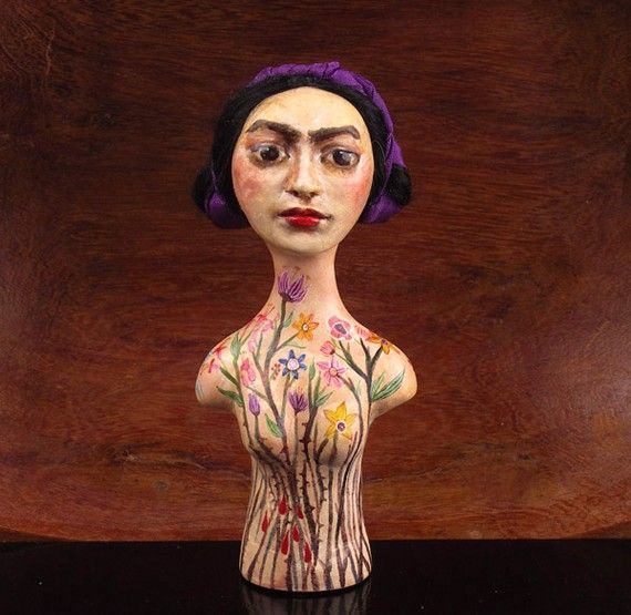 Frida Kahlo II  OOAK Art Doll Bust  reserved by TheDollWhisperers