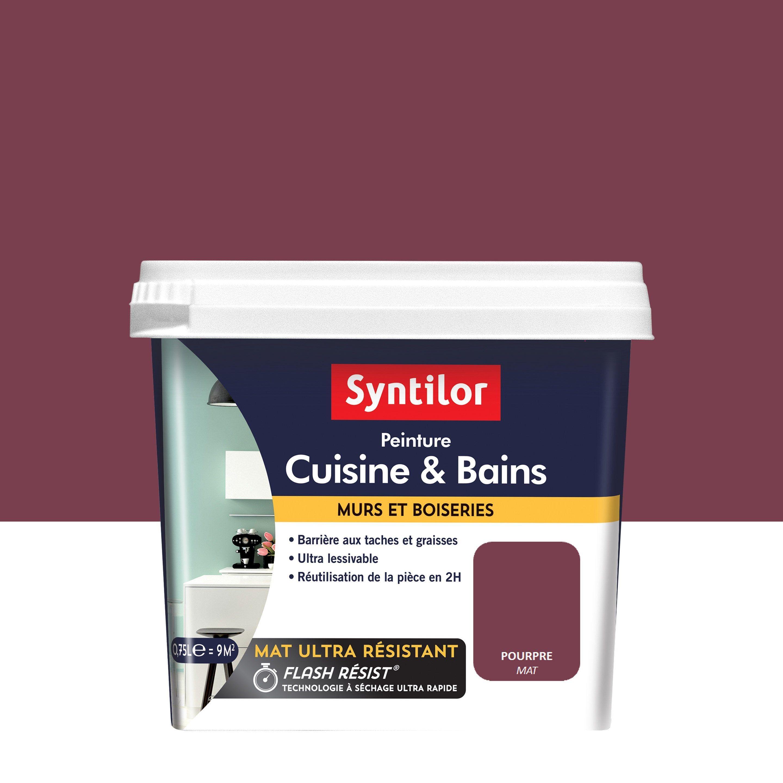 Peinture Mur Cuisine Et Bains Syntilor Pourpre Mat 0 75 L En 2020 Peinture Mur Cuisine Peinture Mur Et 12m2