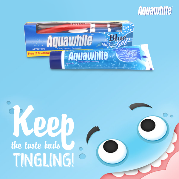 Aquawhite Mint Blue gel toothpaste with whitening crystals fights cavities and promotes fresh breath.