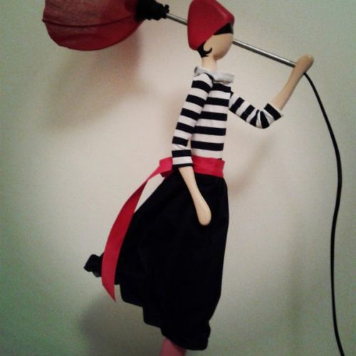 skitso design figure lamp uplighter handcrafted puppet with lamp shade and hand made dress. Black Bedroom Furniture Sets. Home Design Ideas