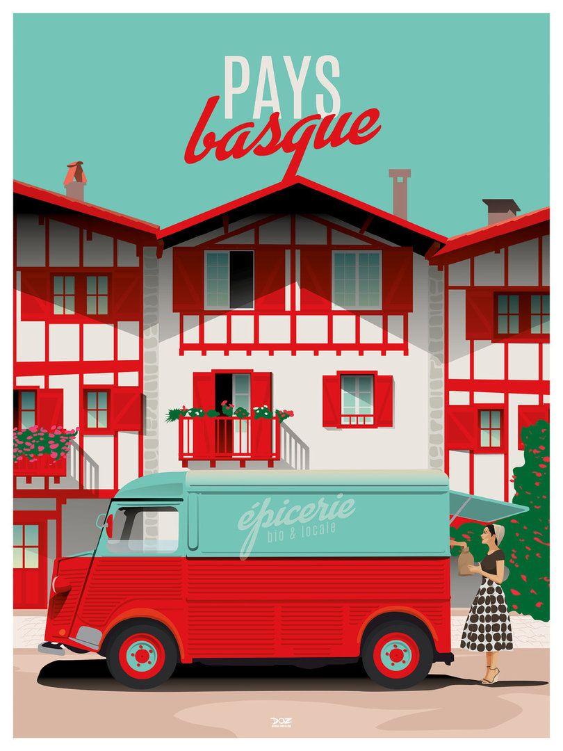 Affiche Pays Basque Doz Affiches Vintage En 2020 Affiche Vintage Affiches De Voyage Retro Pays Basque