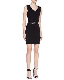 T7X32 LaPina by David Helwani Dominique Sleeveless Cutout Back Dress,Black