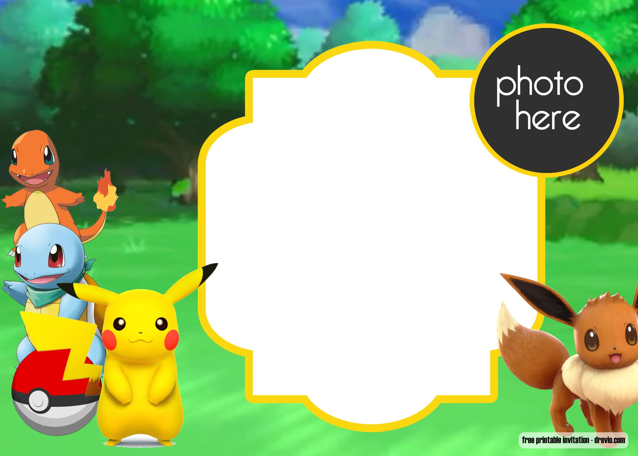 picture regarding Free Printable Pokemon Invitations referred to as Free of charge Printable Pokemon Birthday Invitation Totally free