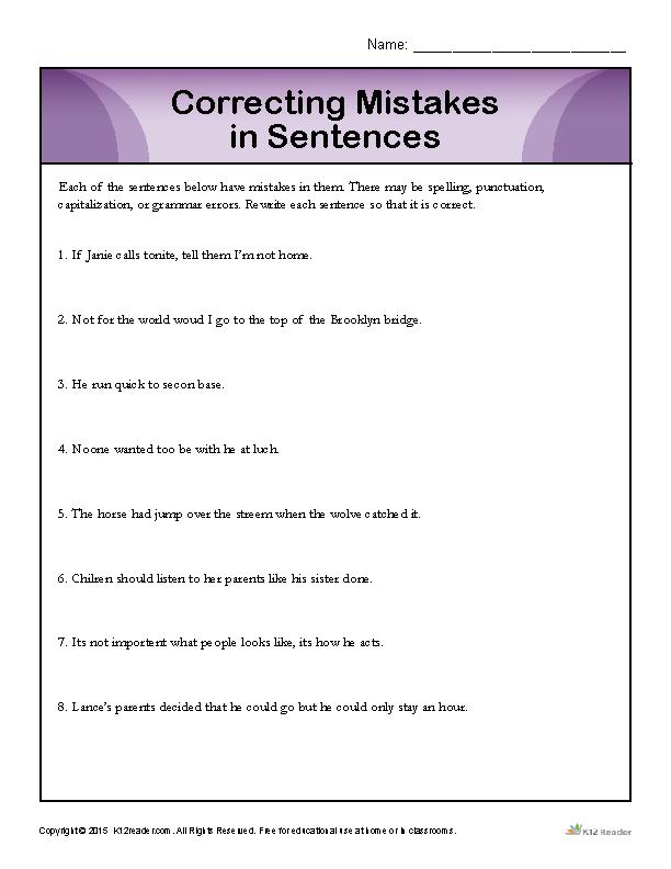 correcting mistakes in sentences media relations sentences mistakes worksheets. Black Bedroom Furniture Sets. Home Design Ideas