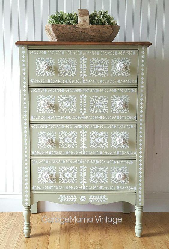 Bayberry Green CSP Dresser w/ Snow White Accents