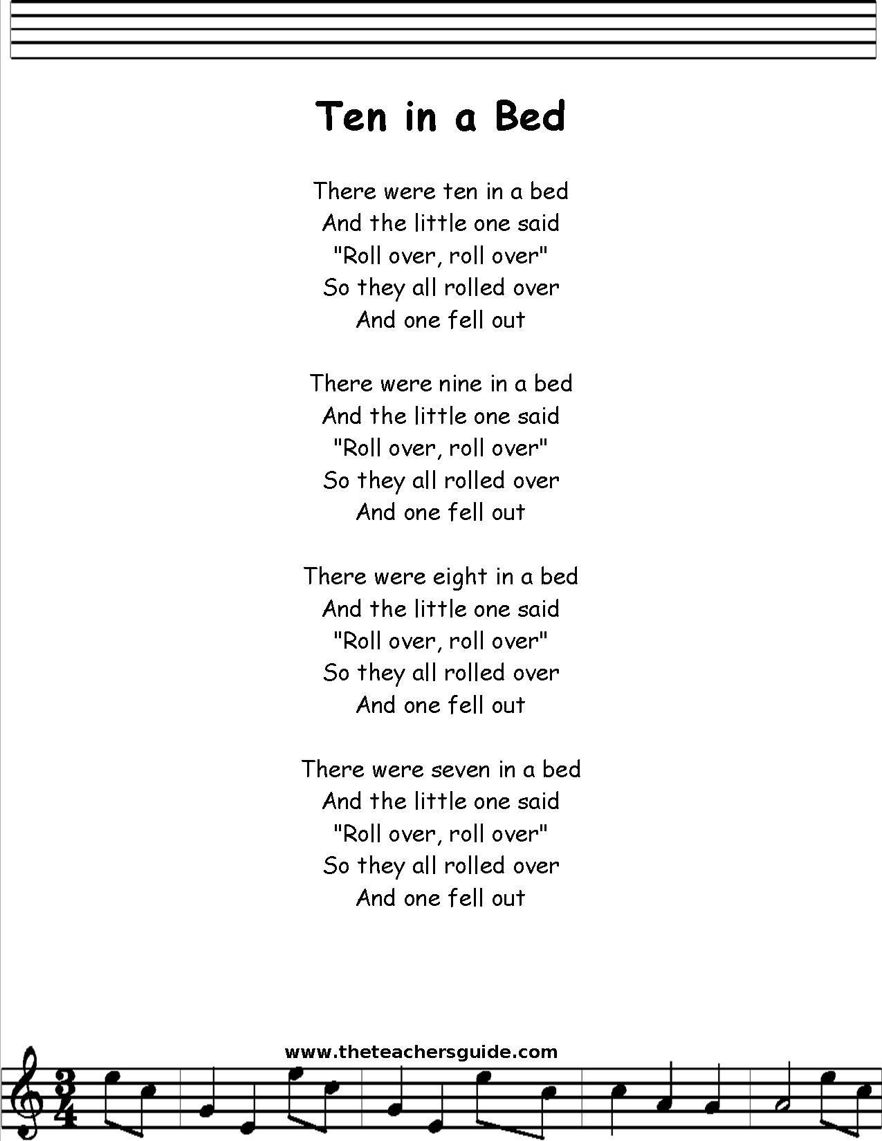Ten In A Bed Lyrics Printout