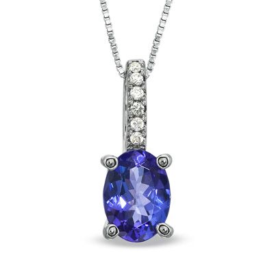 Oval tanzanite and diamond accent pendant in 10k white gold oval tanzanite and diamond accent pendant in 10k white gold aloadofball Gallery