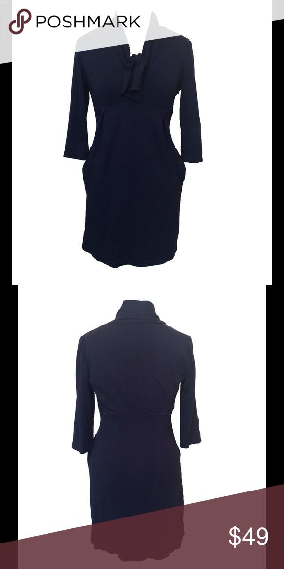 Size 6 Calvin Klein Navy Tie Neck Dress Excellent Used Condition Calvin Klein Dresses