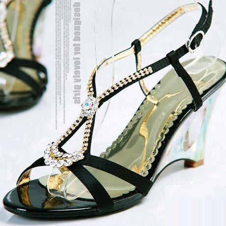 Rhinestone Wedge Sandals