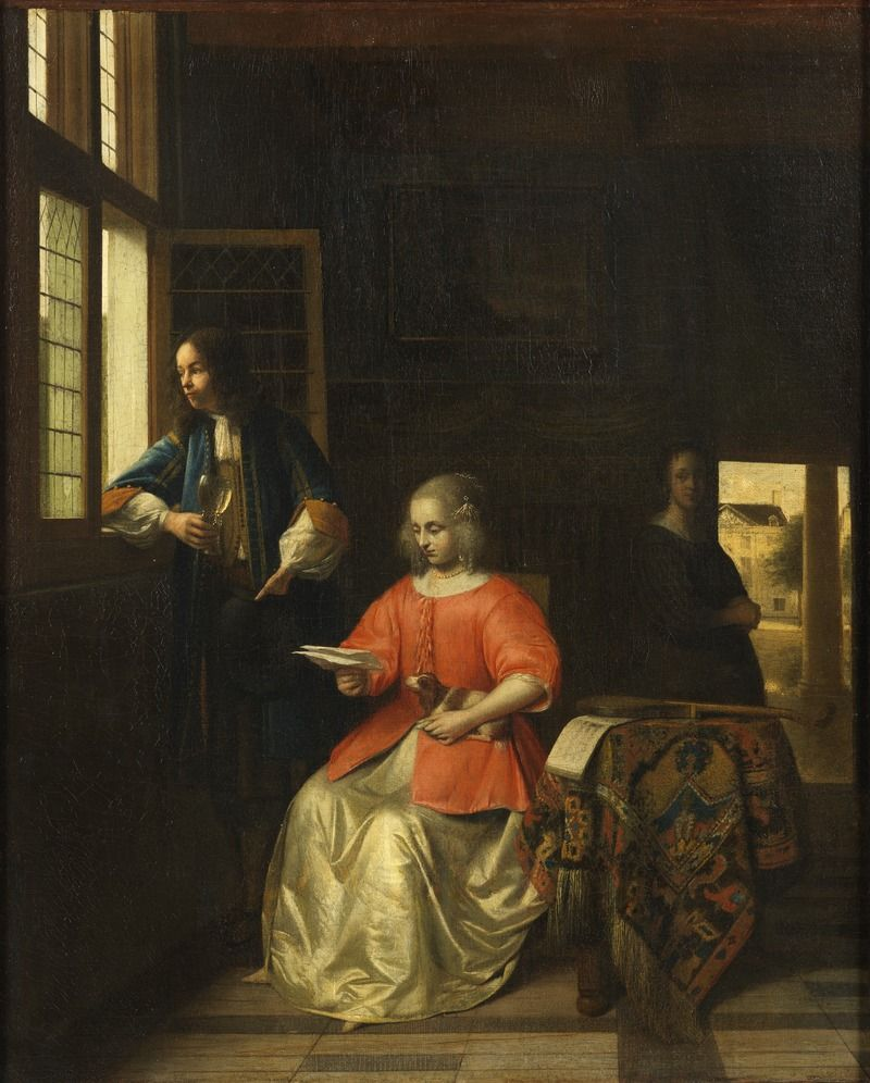 Interior With A Young Lady Reading A Letter Pieter De Hooch Nationalmuseum Haver Og Genre