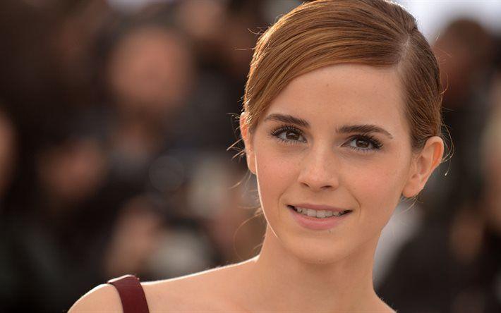 Emma Watson, 4k, Hollywood, smile, american actress, portrait