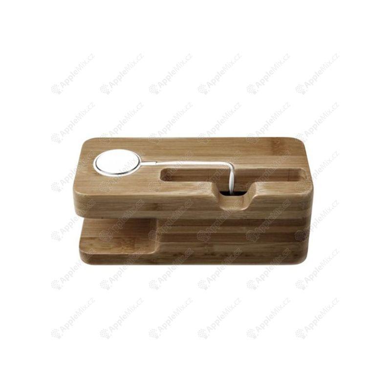 Dřevěný nabíjecí stojánek Seenda pro Apple iPhone a Apple Watch 38mm / 42mm - světlý - AppleMix.cz