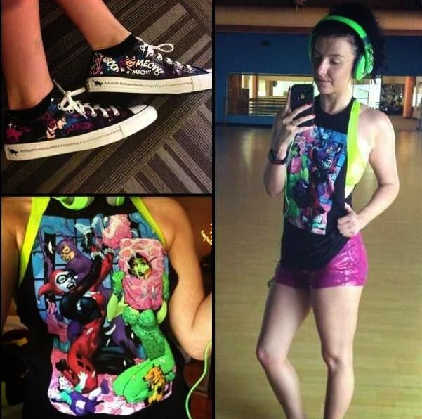 Gotham gym outfit. Cat woman converse