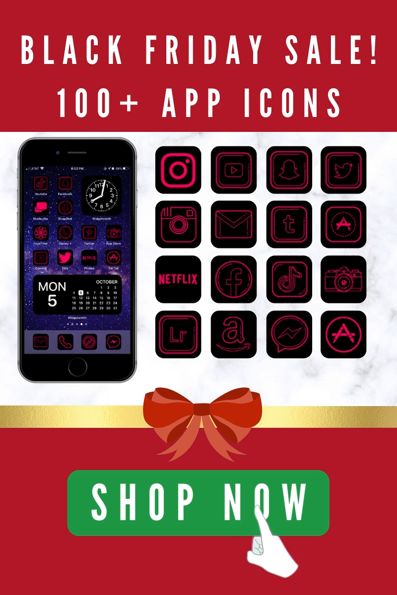 App icons aesthetic black and pink. ios 14 home screen ideas for iPhone.