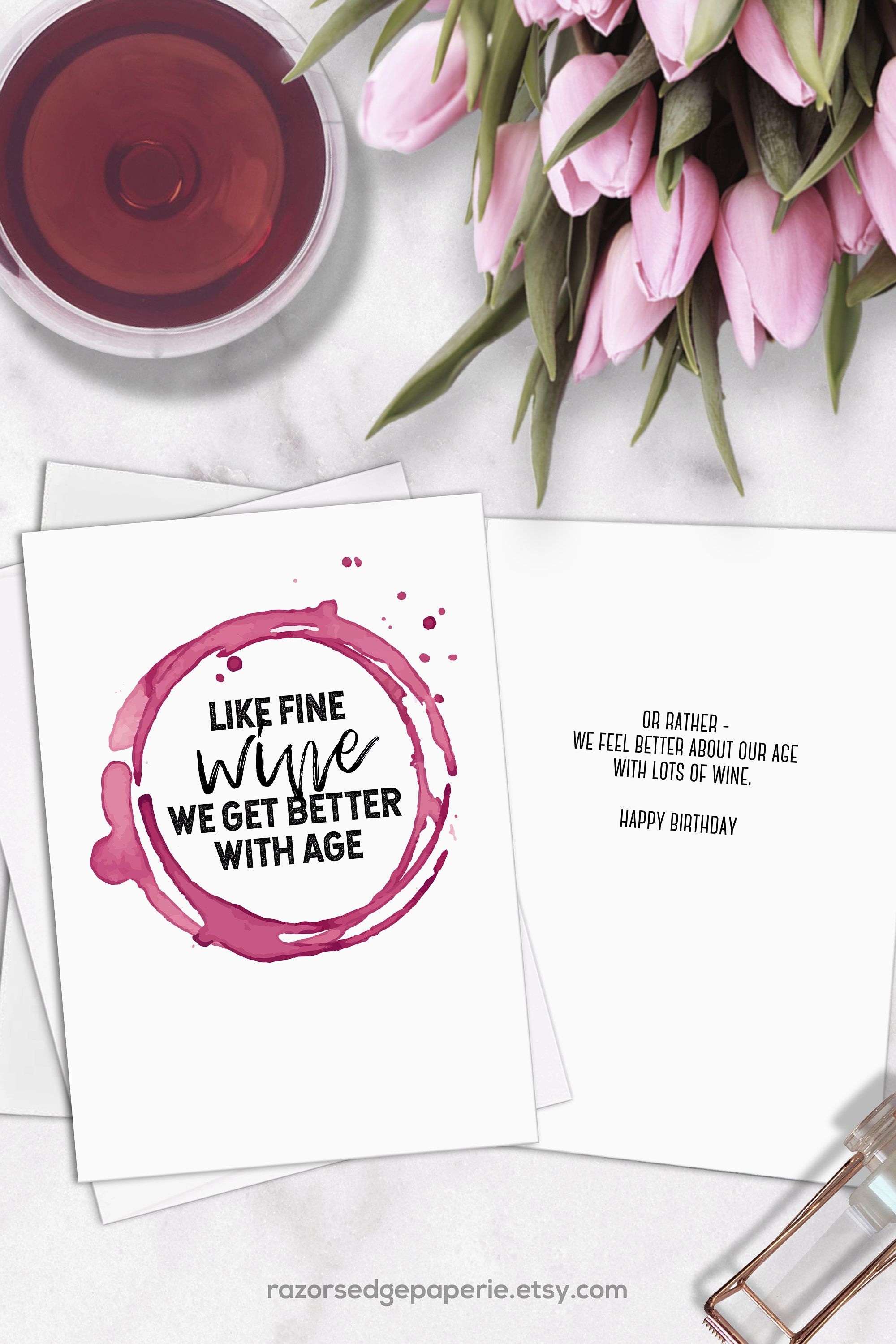 Printable Funny Wine Birthday Card For Her Sister Best Friend Etsy Wine Birthday Cards Funny Wine Birthday Cards Cool Birthday Cards