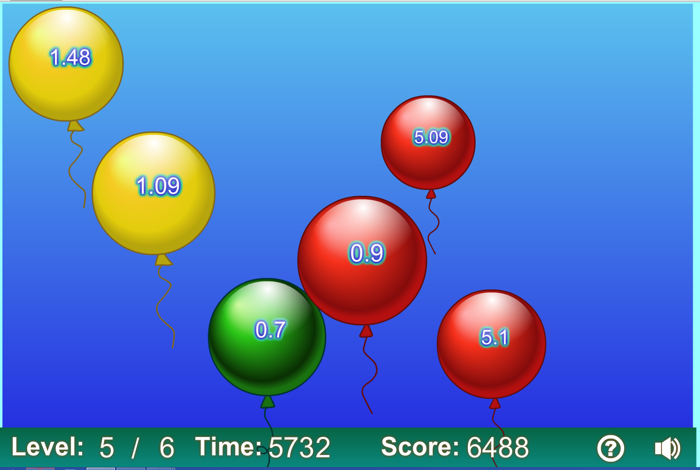Comparing Decimals Game Pop Balloons In Order From Least