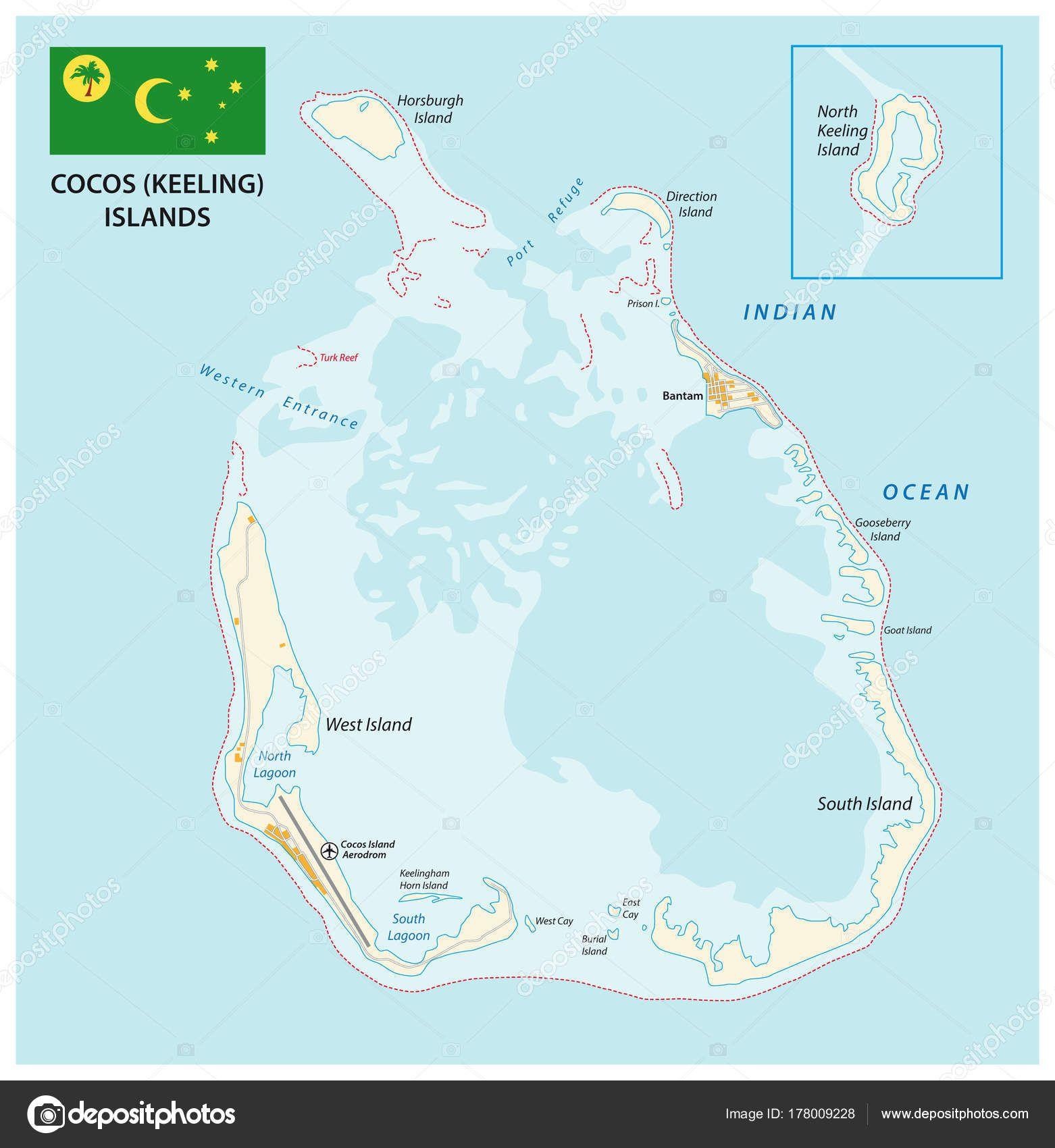 Cocos Keeling Islands Vector Map Flag Cocos Islandscc In 2019