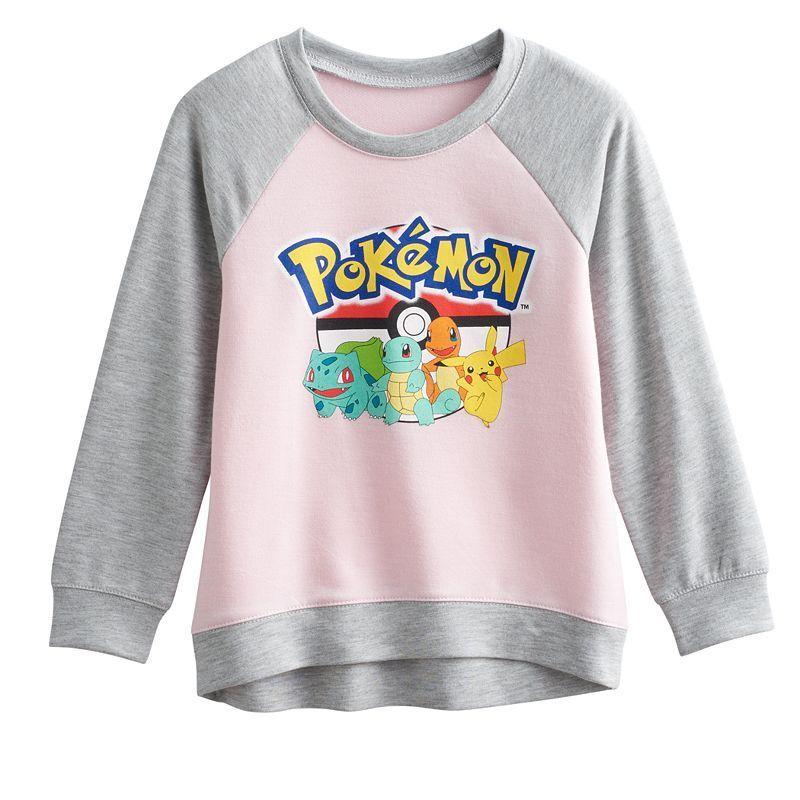 Girls 4-6x Pokemon Pikachu, Bulbasaur, Charmander & Squirtle Raglan Tee, Girl's, Size: 5, Pink