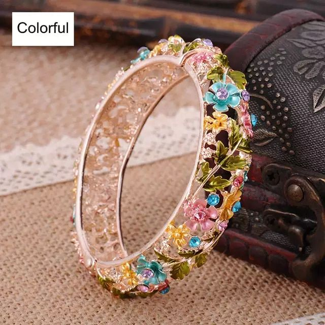 Vintage Chinese Cloisonne Bracelets Jewelry Gold Plated Hollow Crystal Rhinestone Flower Enamel Bangle for Women