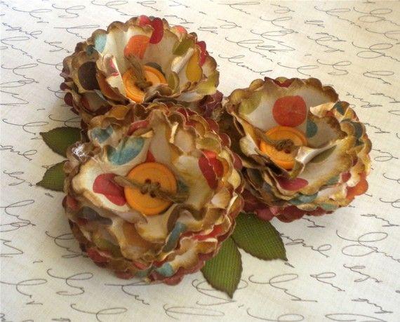 3 vintage paper flower embellishmentskindrascreations