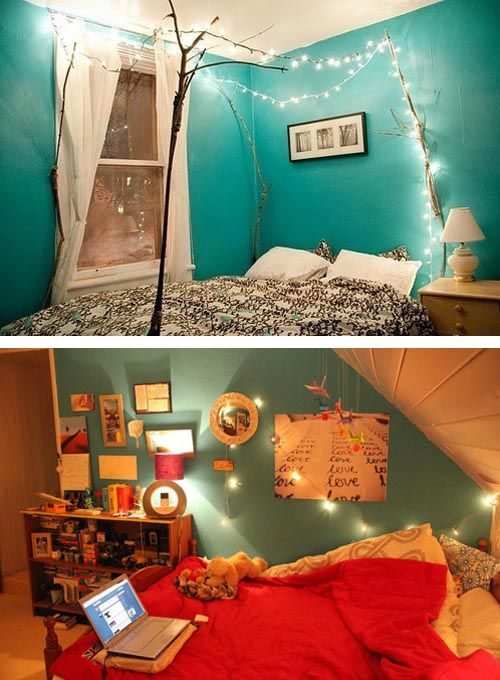 bedrooms with christmas lighting. lovely colours for a bedroom