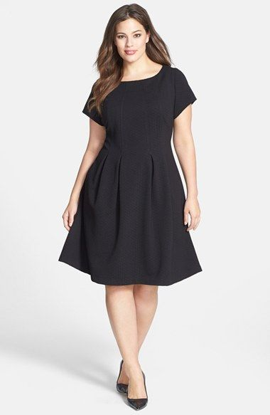 Taylor Dresses Textured Knit Fit & Flare Dress (Plus Size) available ...