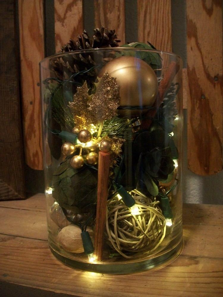 weihnachtsdeko basteln glasvase nuesse zapfen dekorationen lichterketten christmas general. Black Bedroom Furniture Sets. Home Design Ideas