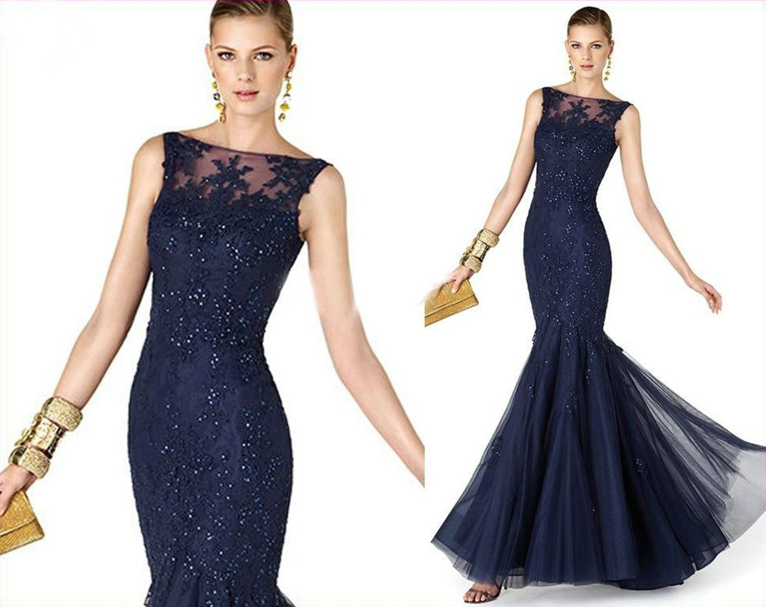 Lace Applique Long Mermaid Wedding Occasion Gown Formal Ball Party ...