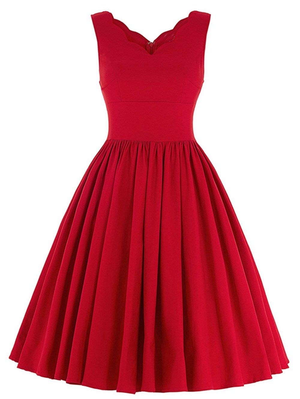 Scalloped A Line Swing Cocktail Dress Red A Line Dress Pleated Party Dress Pleated Skater Dress [ 1330 x 1000 Pixel ]