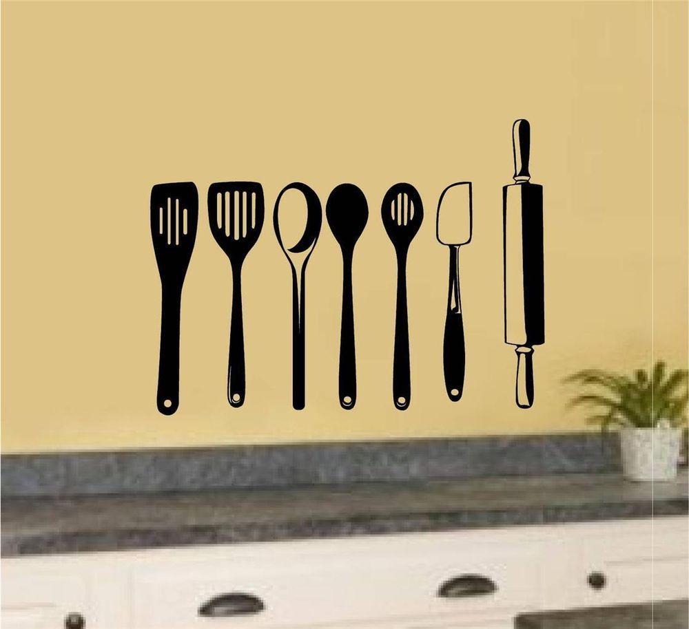 Kitchen Utensils Vinyl Decal Wall Stickers Home Kitchen Decor Art ...