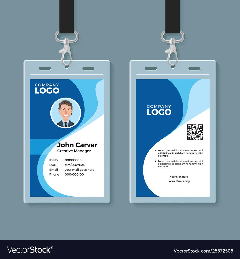Blue curve wave id card design template download a free