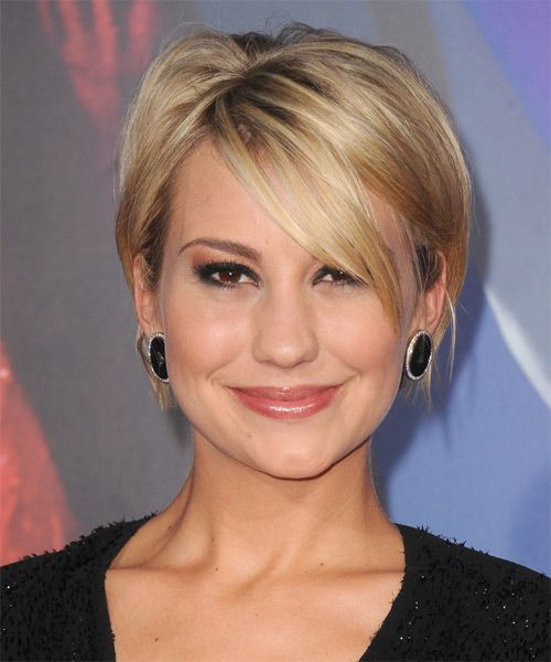 chelsea kane short straight casual hairstyle with side swept bangs