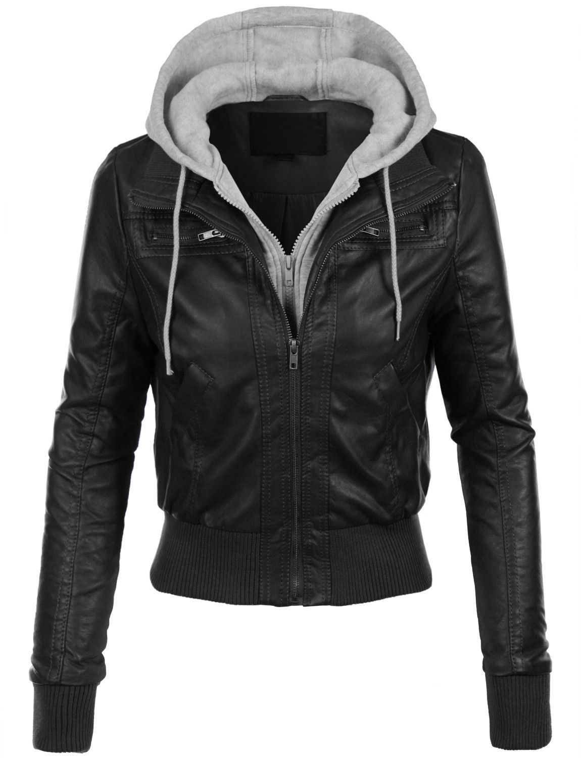 LE3NO Womens Casual Motorcycle Fleece Hoodie Faux Leather
