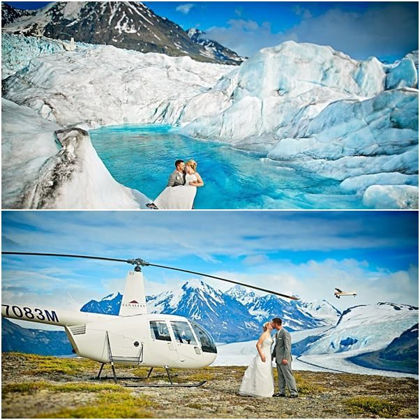 Stunning wedding photos, shot on top of an Alaskan glacier
