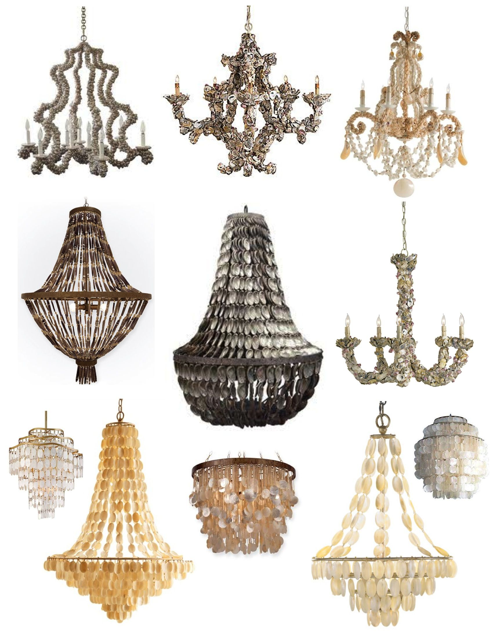 Natural Inspirations From The Sea Shell Chandeliers