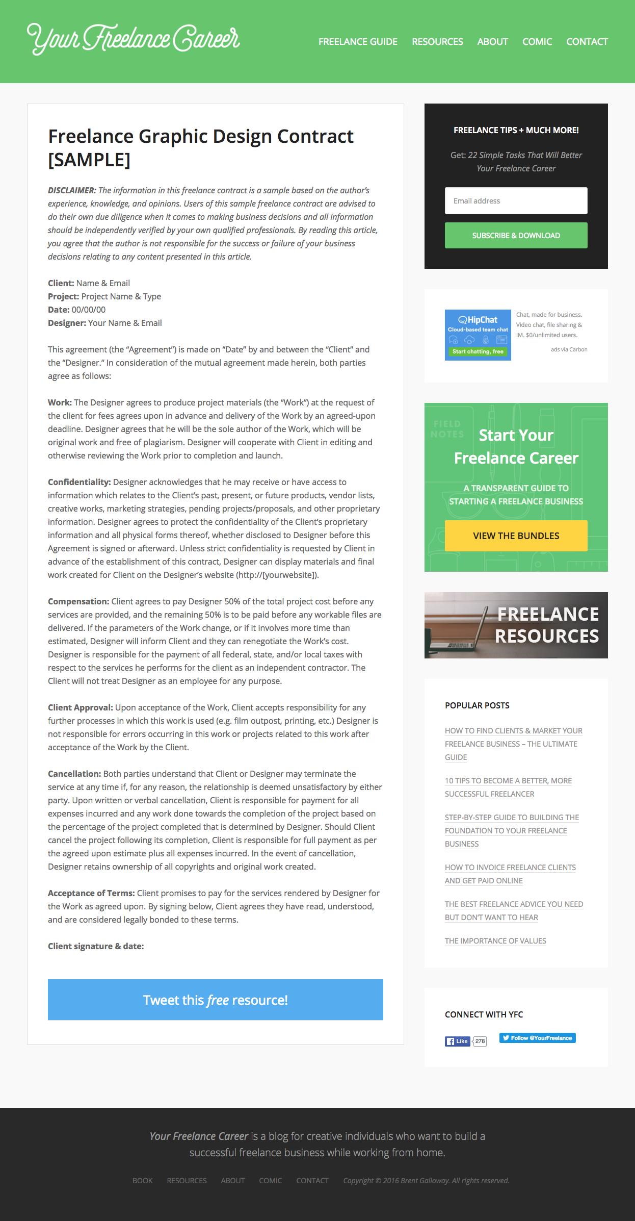 sample freelance graphic design contract
