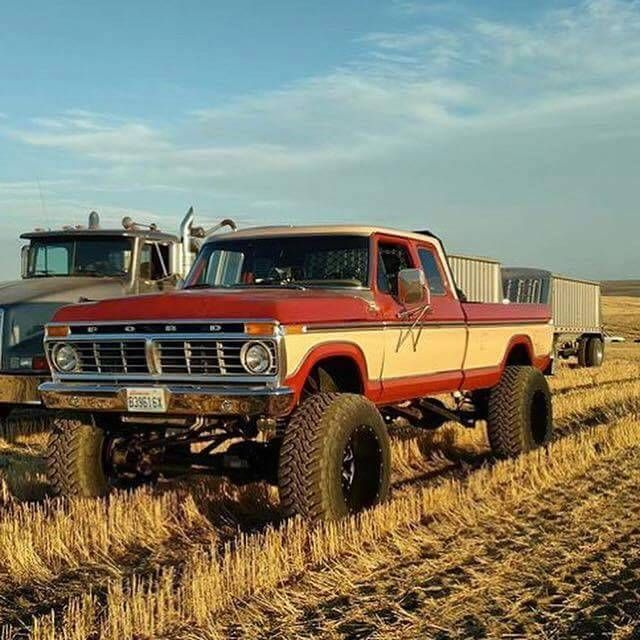 Sweet Older Ford Ridin High In The Stubble Ford Trucks Trucks
