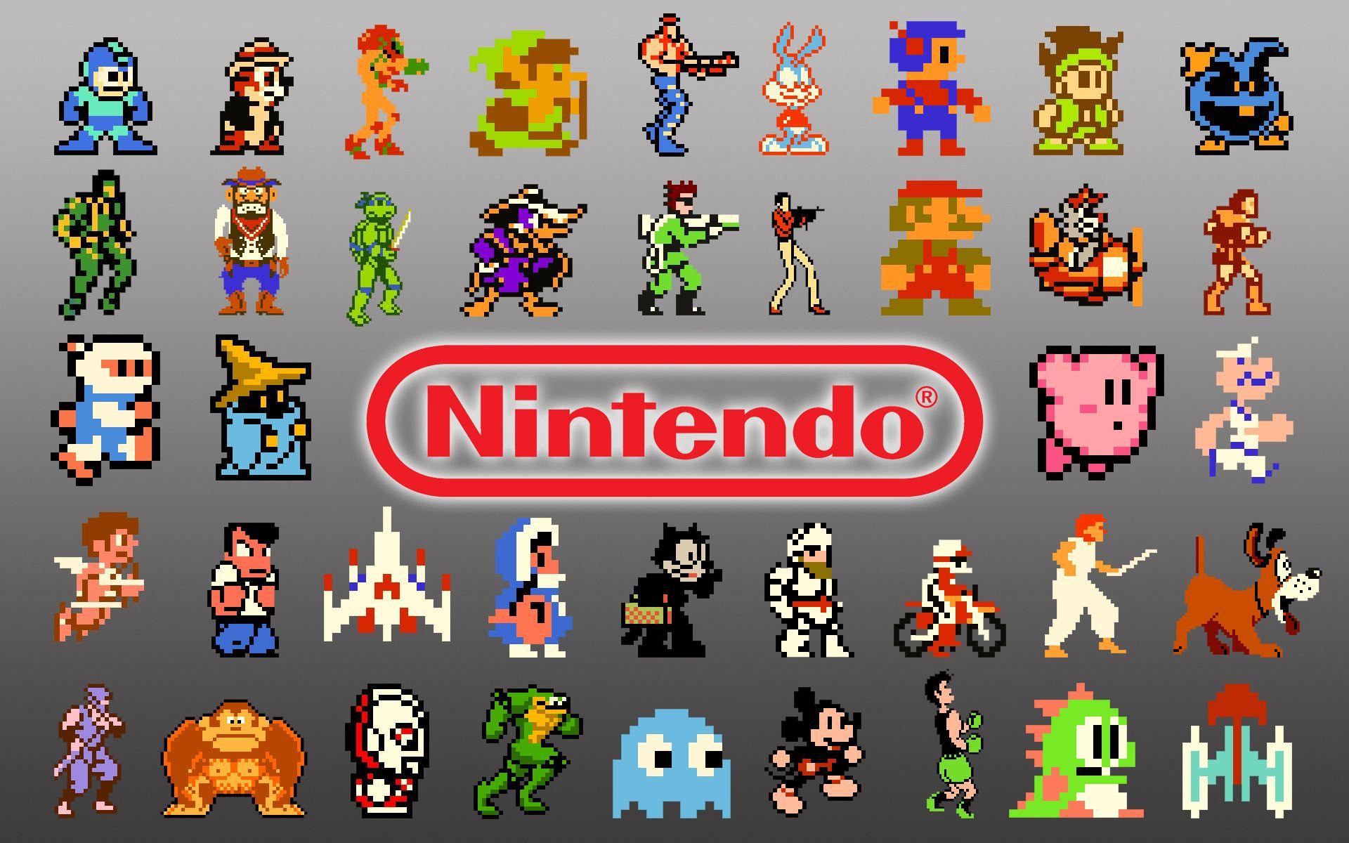 Identity Logo Nintendo fan collage 8bit characters