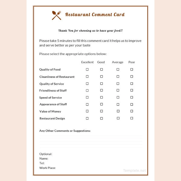 How To Make A Restaurant Comment Card 5 Templates Card Template Card Design Restaurant Business Cards