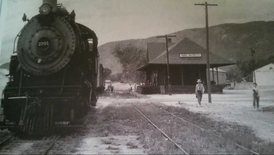 Steam Locomotive At Santa Fe Depot In San Jacinto