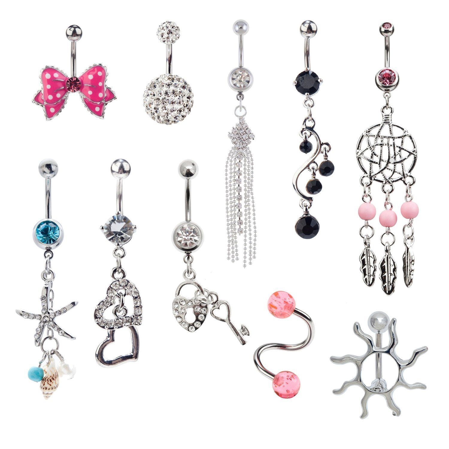 Jewelry Set Of 10pcs 14 Gauge 316l Surgical Steel Belly