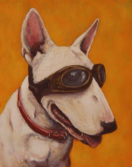 Steam Punk Dog Love The Sense Of Character DOG ORIGINAL ART - Bull terrier art
