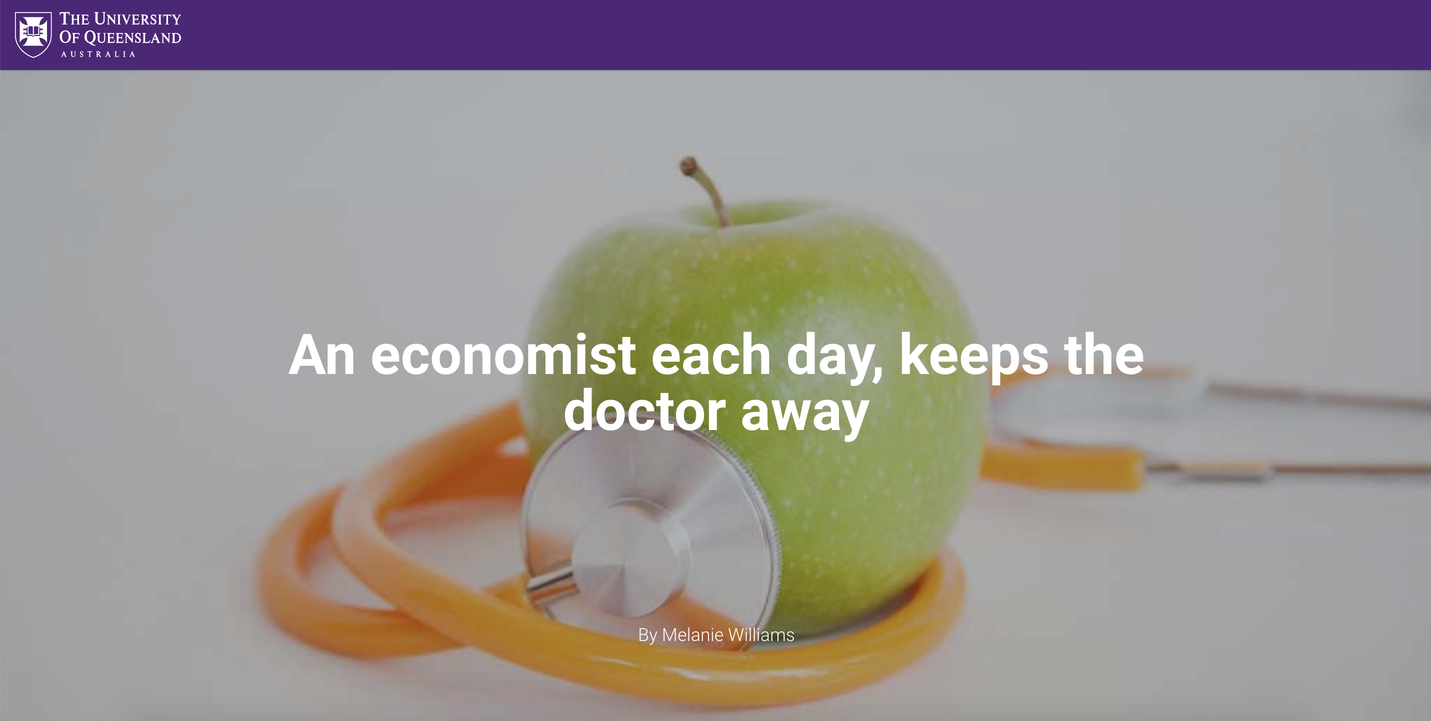 An Economist Each Day Keeps The Doctor Away The University Of