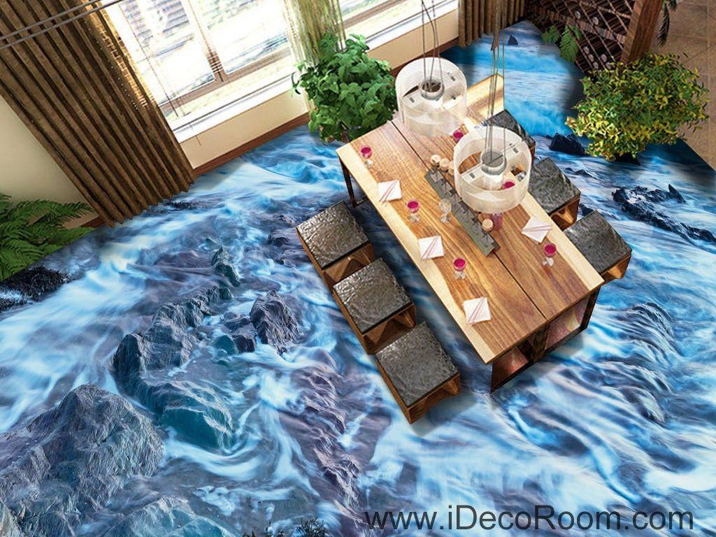 Sea Bubble Beach Ocean Rocks 00041 Floor Decals 3D Wallpaper Wall ...