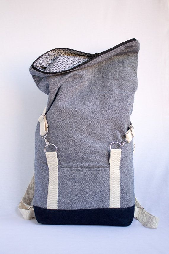 Rolltop backpack. Light blue cotton canvas backpack. Laptop 15\
