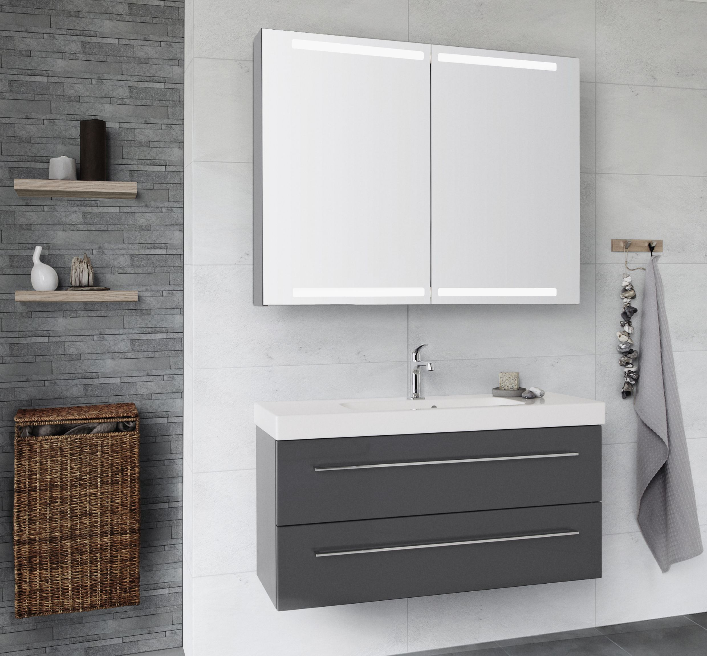 Nice and Nordic grey colour combined with a spacious mirror cabinet ...