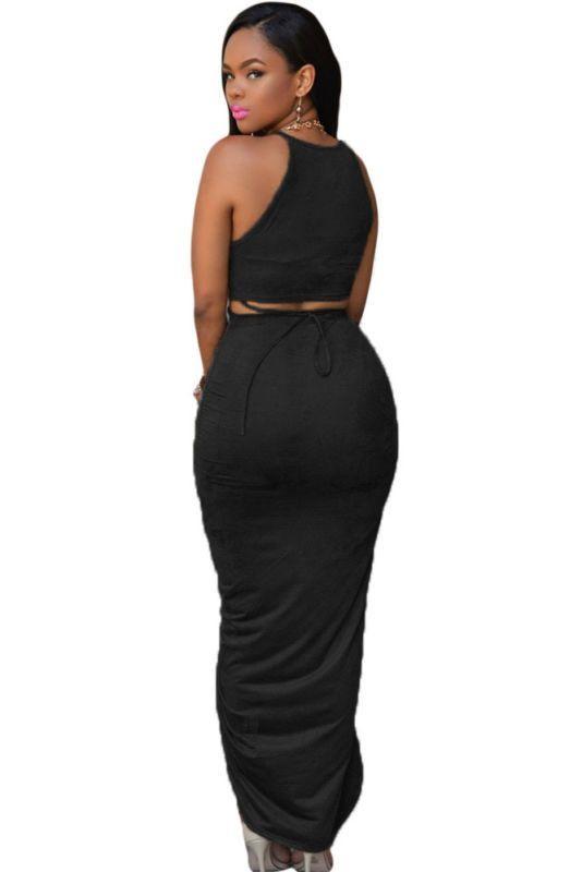 732db7097e91 Two Piece Set Long Maxi dress High Split draping pleats Summer dress Casual  Style Bodycon Women Dress